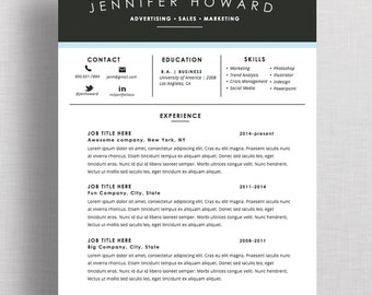 "Creative Resume Template | CV + Cover Letter  | Mac or PC | Microsoft Word or Apple Pages |  Instant Download (""Blue Highland"")"