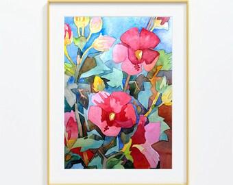Hibiscus, 9x12 inches Original Watercolor Painting,Watercolor Artwork,FlowerPainting,Garden
