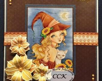 Sunflower Night - Autumn Flower Wicked Witch Cat Kitty Kitten Fantasy Fairy Girl Art by Ching-Chou Kuik