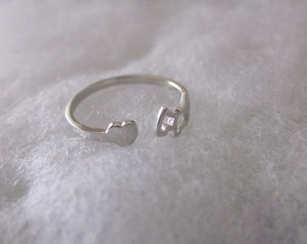 Adjustable Ring with Dog and Heart.  Sterling Silver. Stackable Ring. Everyday Jewelry.
