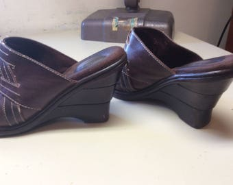 Woman Wedge Shoe Dr Scholls Shoes, Brown Ladies Pump Dark Brown Lady Wedge Shoe Vintage Lady Brown Wedge Shoe