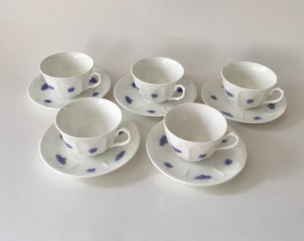 Vintage Adderley Blue Chelsea Pattern, Fine Bone China, England Cups and Saucers, set of 5