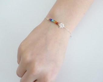 Chakra bracelet, Lotus bracelet, Yoga bracelet, Dainty seven chakra bracelet, gemstone bracelet, meditation bracelet, Spiritual jewelry
