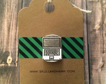 Laptop Computer Lapel Pin / Tie Tack - Silver Tone Metal - Tack Backing with Clutch Clasp - Tech Accessories - IT Gift