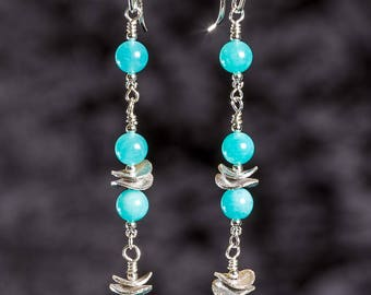 Amazonite long dangle earrings with sterling silver