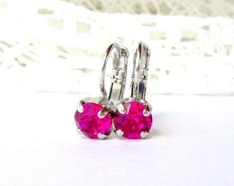 Hot pink rhinestone leverback earrings / Mothers day gift / gift for her / Swarovski / fuchsia / 6mm / girlfriend gift / bridesmaid earrings