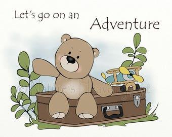 11 x 14 Nursery Art, Teddy Bear Childrens Wall Art, Babys Wall Decor, Airplane Nursery Wall Art Print (339)