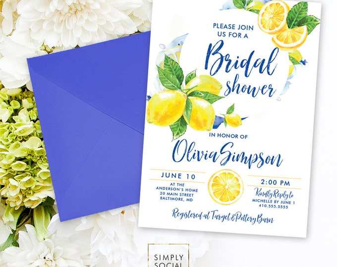 Lemon Bridal Shower Invitation - Mediterranean Invite Lemon Italian Bridal Shower Yellow and Blue Modern Calligraphy Watercolor Printable