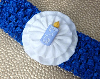 Blue Birthday Candle Crochet Children's Headband