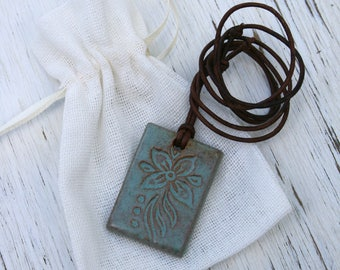 flower pendant, terra cotta, blue flower pendant, ceramic jewelry, batik design, boho jewelry, artisan jewelry, handmade, gift for her, blue
