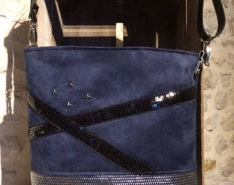 Navy suede shoulder bag