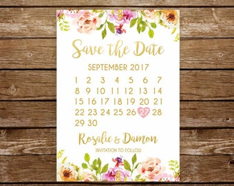 Save the date card save the date calendar printable save the date postcard save the date wedding invitation wedding announcement 237