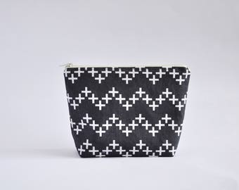 Crosses Cosmetic Bag, Zipper Pouch, Makeup Bag, Makeup Pouch, Cosmetic Pouch, Toiletry Bag - Grey