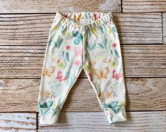 organic baby leggings, baby pants, baby leggins, toddler pants, organic toddler leggings, butterfly leggings, butterflies, flowers, floral,