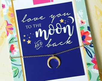Love you to the Moon Necklace Jewelry Card