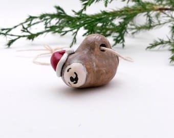 Santa Sloth Christmas Ornament