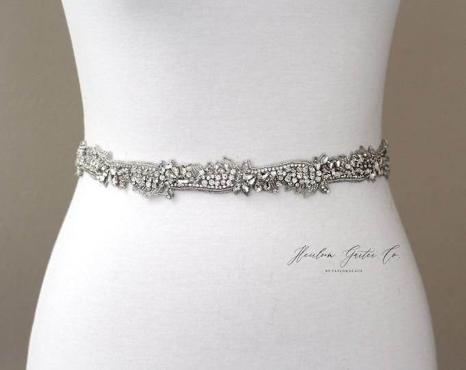 Bridal Belt, Bridal Sash, Beaded Bridal Sash, Wedding Belt, Wedding Sash Rhinestone Sash B58S