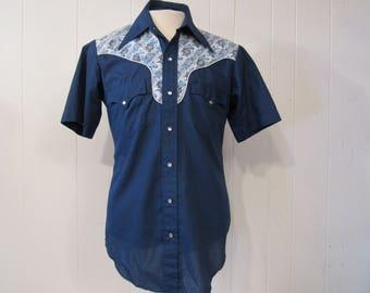 Vintage shirt, cowboy shirt, 1970s shirt, western shirt, vintage clothing, medium