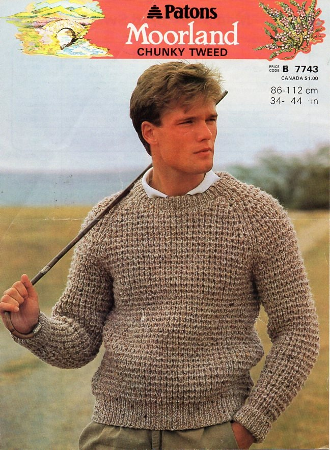 Vintage Mens Chunky Ribbed Sweater Knitting Pattern Pdf Bulky