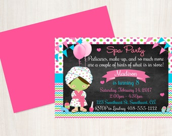 Spa Party Birthday Party Invitation, Spa Chalkboard Invitation, Spa Invitation, Girls Birthday Invitation, Printable Spa, Spa Party