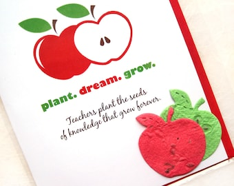 Back to School - Personalized Teacher Thank You Card - Plantable Seed Paper Apples - Teacher Appreciation Cards