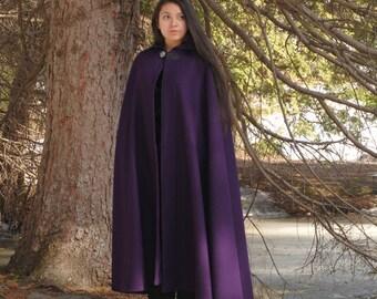 Wool Cloak - Half-Circle Cloak - Purple Cloak  - Hooded Cloak