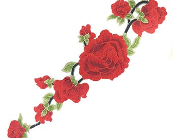 Embroidered on Mesh Roses Flowers Patch Applique, Big Sewing Patch Applique