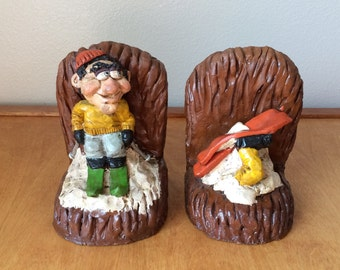 Two Skier Bookends  - J&J Designs 1976 - Winter Sport - Agony of Defeat