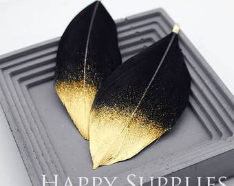 4Pcs 80x40mm Black Duck Feather with Gold Dipped, Jewelry Supplies (DT095)
