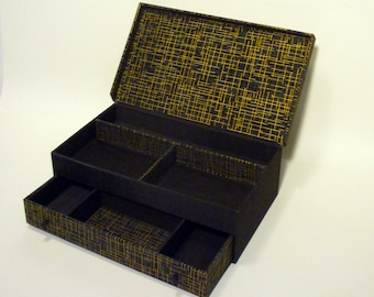 Handmade jewelry box, fabric covered box, cartonnage, treasure box, keepsake, item storage, box with hinged lid