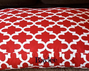 Red Quatrefoil Dog Bed || Embroider your Pups Name || Custom Large Personalized Dog Bed Cover || Puppy Gift by Three Spoiled Dogs