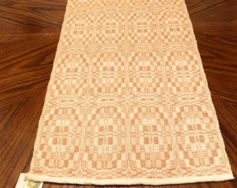 Hand Woven Table Runner Tan and White