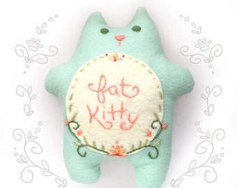 DIY felt embroidered FATKITTY plush PDF pattern cat lover toy doll kitty pillow