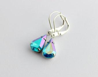 Aqua AB earrings, Aurora Borealis earrings, Aquamarine AB earrings, rainbow earrings, Aqua earrings, winter wedding, Aquamarine earrings A02