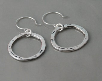 Silver hoop earrings organic silver hoop earrings