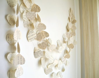 Wedding heart garland, vintage book paper garland, Wedding decoration, Paper heart garland, ivory paper garland,  Party Garland, home decor