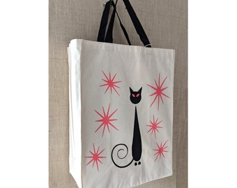 Oops, Mistakes Were Made, Black Cat, Canvas Bag, Reusable Grocery Bag, Siamese Cat, Eco Friendly Bag, Reusable Bag, Shopping Bag