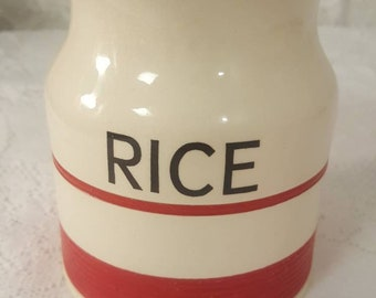 Rare! 1940s Kleen Kitchen Ware red and white rice canister 1 pint
