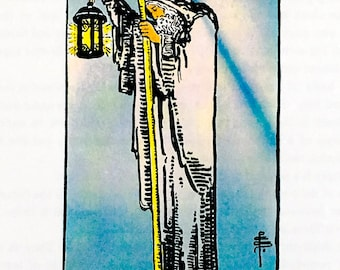 Tarot Card / Illustration / The Hermit / 1989 / Wall Art / Home Decor / nursery art