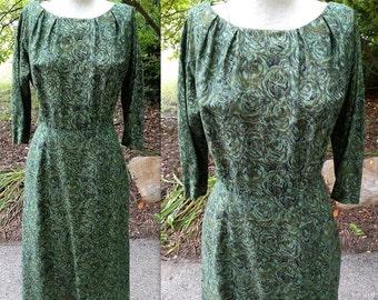 Vintage 1950s 50s 1960s 60s TWEEN CRAFT Wiggle Pencil Dress Green Floral Rose