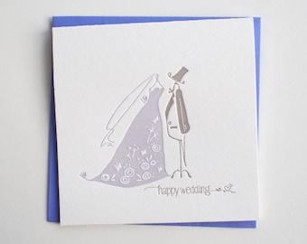 Happy Wedding -  Letterpress Mini Card