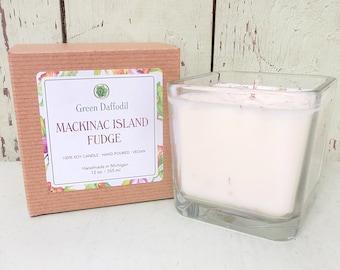 Mackinac Island Fudge Soy Candle - 12 oz. Glass Cube - Green Daffodil - Hand poured -CG