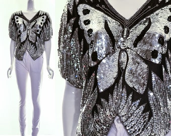 Vintage 70s Silk Sequined Butterfly Blouse Crop Top Silver Black Heavily Beaded Top Small Medium