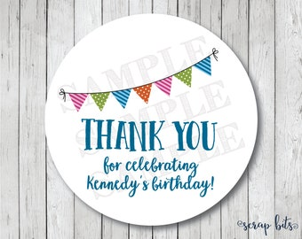 Party Bunting Thank You Stickers, Personalized Thank You Tags, Thank You Labels