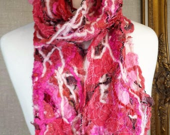 Freeform Scrappy Scarf, red, pink, created from a collage of felt, wool,  silk, yarns, stitching