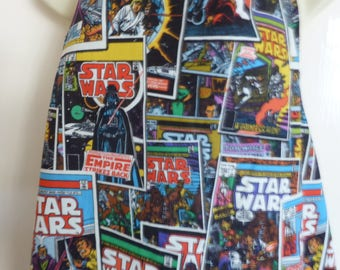 Star Wars Black Comic Book*Blue Star Wars Millennium Falcon*Tie Fighters*The Force Awakens Cotton Fabric Adult size Apron