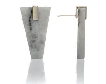 Grey marble geometric earrings