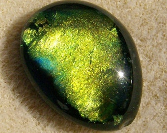 Dichroic Glass Cabochon - Handmade Oval Gold Shading into Shamrock Green Dichroic by JewelryArtistry - DC451