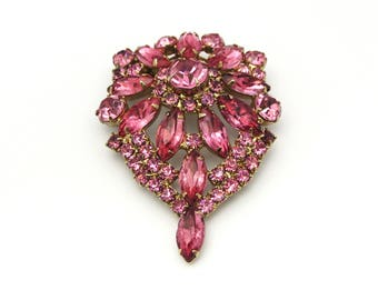 Large Rhinestone Brooch | Kandell and Marcus | 1950s brooch | Statement Brooch | Rare Brooch | Big Brooch | Tear Drop Jewelry