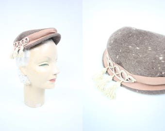 1940's 'Jan Leslie' Felted Wool Tasseled Pillbox Hat